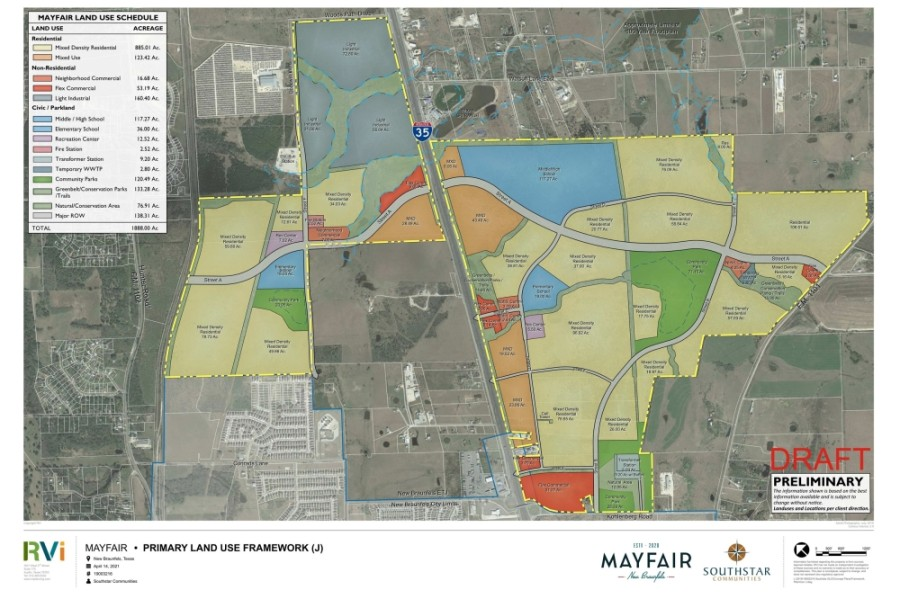 The Mayfair development will include a variety of housing, commercial and public space options. (Courtesy city of New Braunfels)
