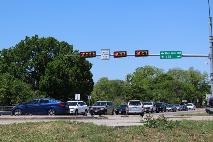 The intersection of Pecan Street at FM 685/Dessau Road will be displaced for a left turn project. (Megan Cardona/Community Impact Newspaper)