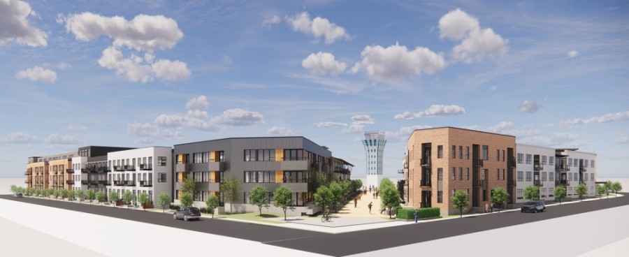 Ryan Companies will be building 350 homes near the Mueller control tower. (Rendering courtesy Lake Flato Architects)