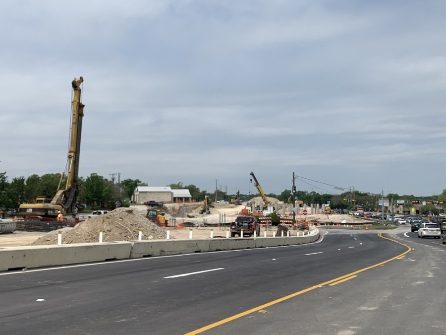 Construction on the RM 620 project near I-35 in Round Rock continues. (Amy Bryant/Community Impact Newspaper)