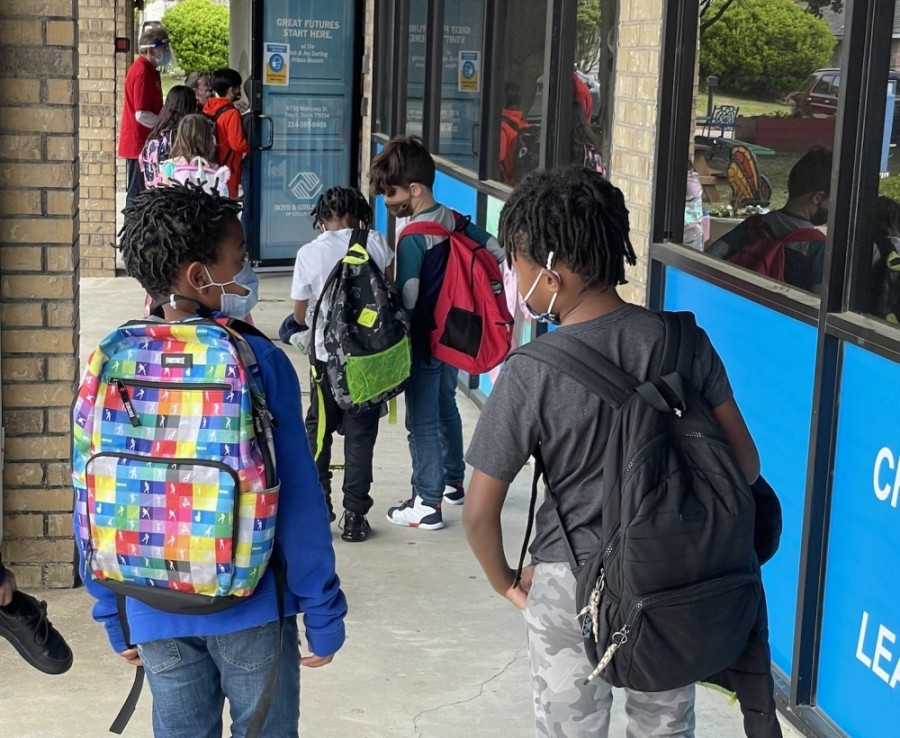 Children disembark the bus and head into the Boys & Girls Club for afterschool programs. (Courtesy Boys & Girls Clubs of Collin County)