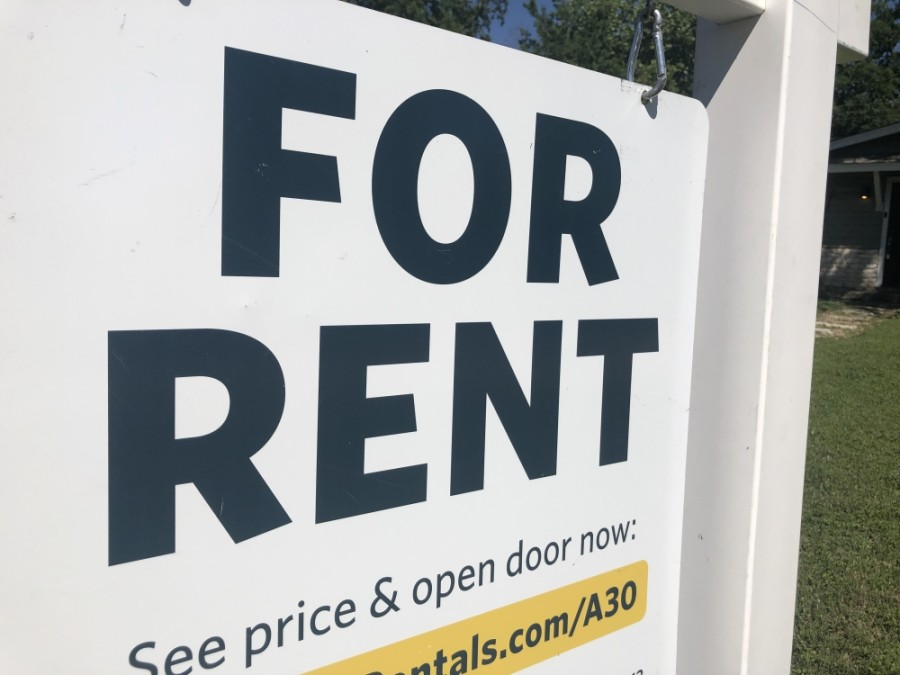 A sign advertises a property for rent in Austin on May 6. Local eviction orders remain in place through August 1 protecting most tenants from eviction. (Jack Flagler/Community Impact Newspaper)