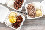 Notable menu items include the concept signature dish Huli Huli Chicken, which is marinated grilled teriyaki chicken, and Luau Pig, which is slow-roasted Kalua pork seasoned with Hawaiian sea salt. (Photo by Kathy Tran, courtesy Hawaiian Bros)