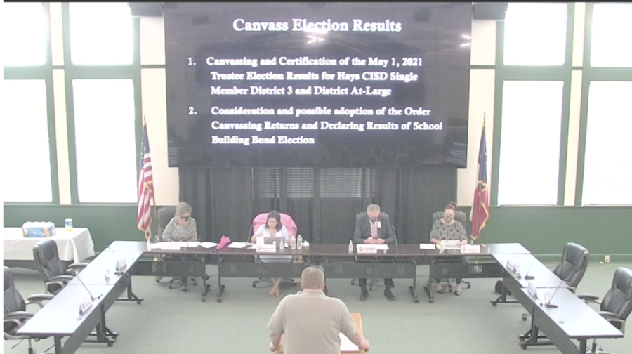 Voters approved three of the six bond propositions presented by Hays CISD, and two positions on the board of trustees were on the ballot. (Screenshot courtesy Hays CISD)