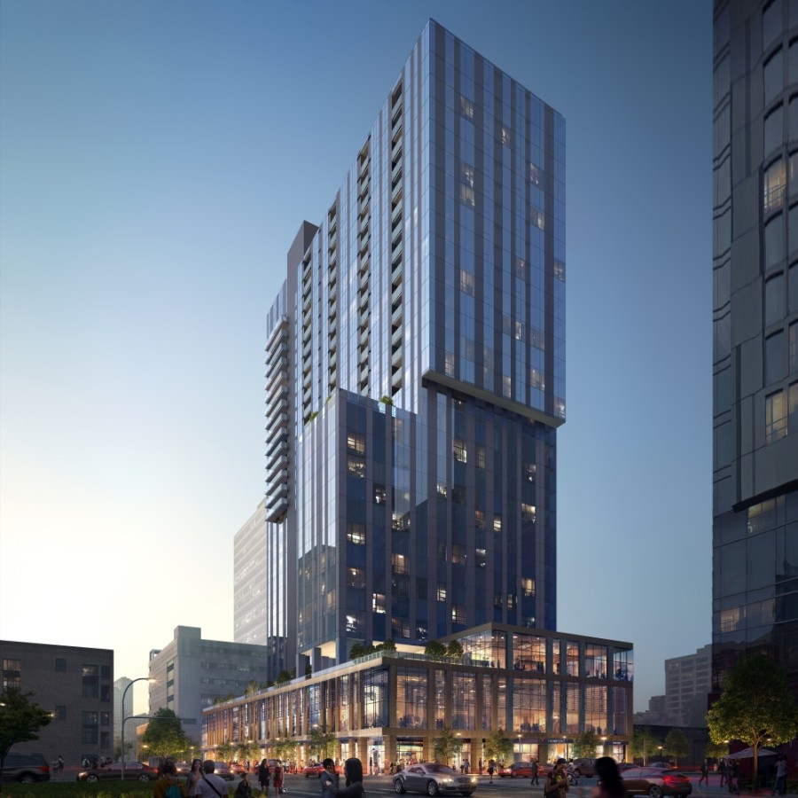 Sienna at the Thompson will include 331 apartment rental homes on floors 15 through 31 of the Thompson Hotel, under construction in downtown Austin. (Rendering courtesy Magellan Development Group)
