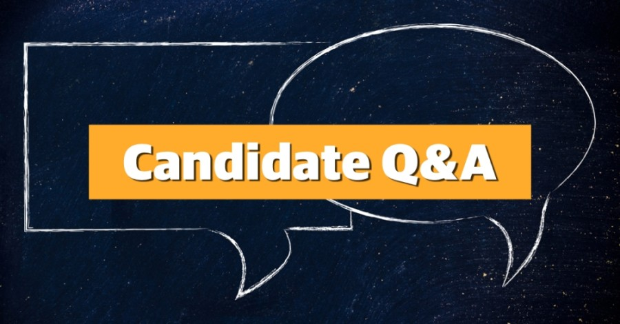 "The text ""Candidate Q&A"" and two speech bubbles drawn on a chalkboard"