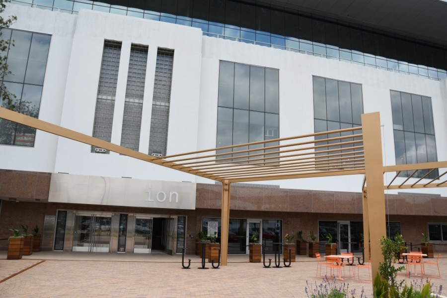 The Ion features an outdoor plaza that helps the building maintain its outdoor, open and walkable focus for its visitors. (Hunter Marrow/Community Impact Newspaper)