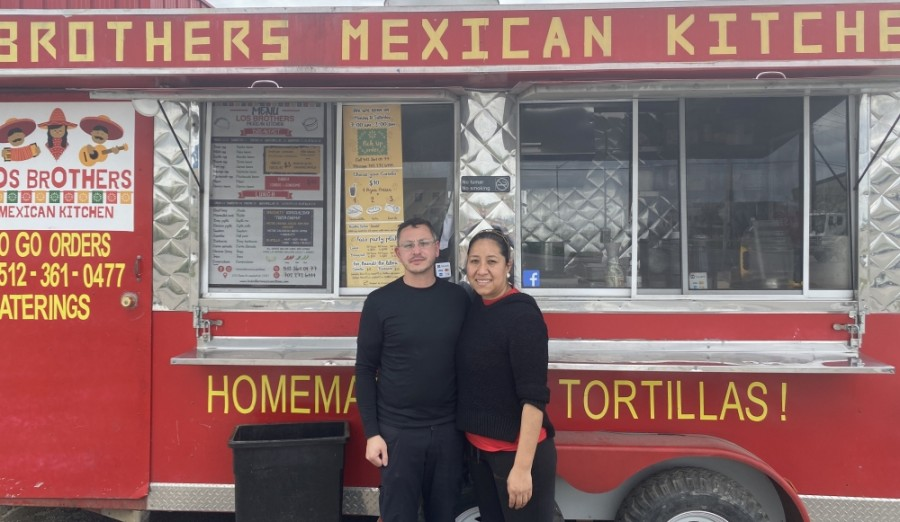 Los Brothers Mexican Kitchen owners Adele Tinoco and Sven Muehlhan opened the food truck in 2019. (Photos by Brian Rash/Community Impact Newspaper)