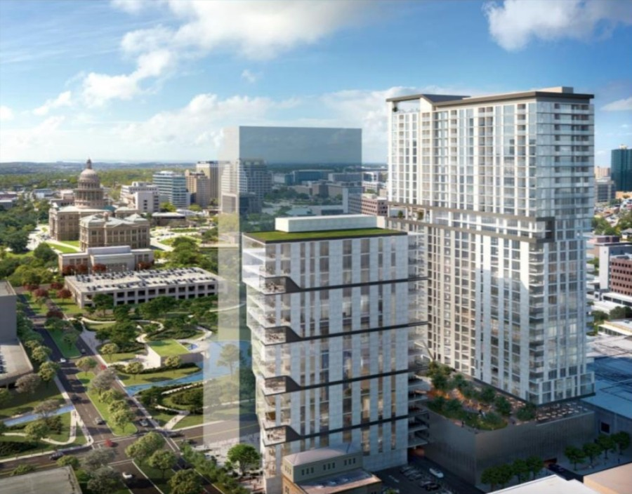 A previously released proposal for the former HealthSouth property's redevelopment from Aspen Heights Partners centers on two towers containing a range of community benefits. (Courtesy Austin Economic Development Department)