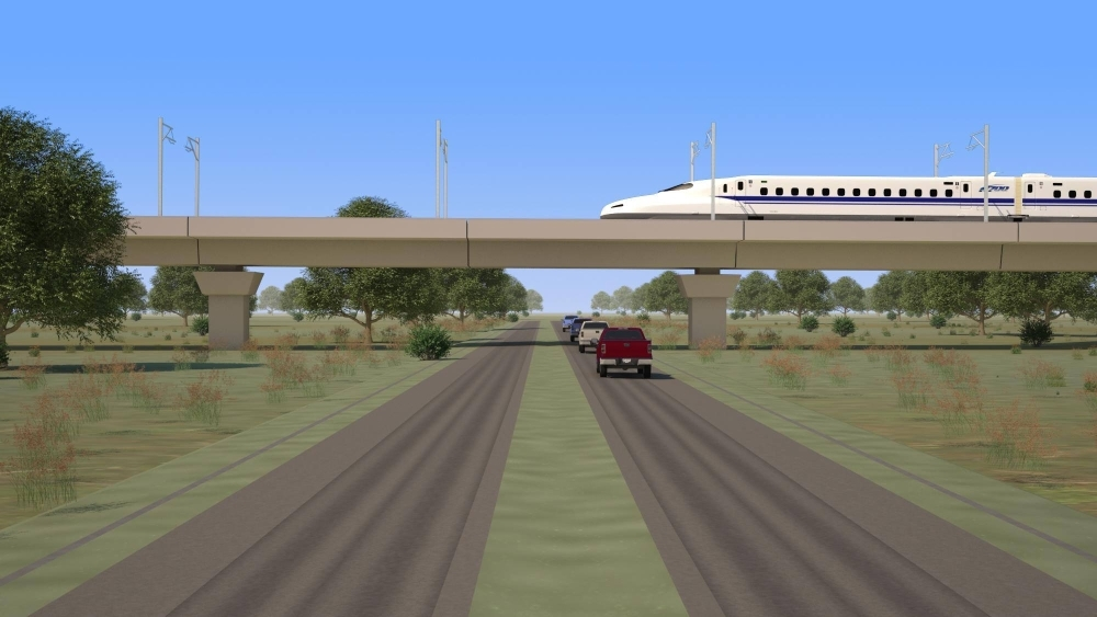 Officials with Texas Central announced the signing of a contract with Renfe to be the high-speed rail project's early operator. (Rendering courtesy Texas Central)
