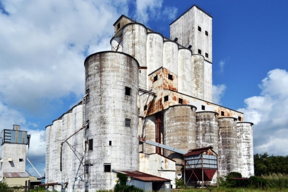 According to the Katy Heritage Society, at 177 feet tall, the J.V. Cardiff & Sons rice dryer was the tallest in the country when it opened in 1966. (Courtesy Cardiff Rice Dryer)