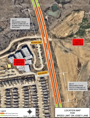 This map shows the area along Josey Lane near Memorial Elementary School that will be 35 mph. (Courtesy city of Lewisville)