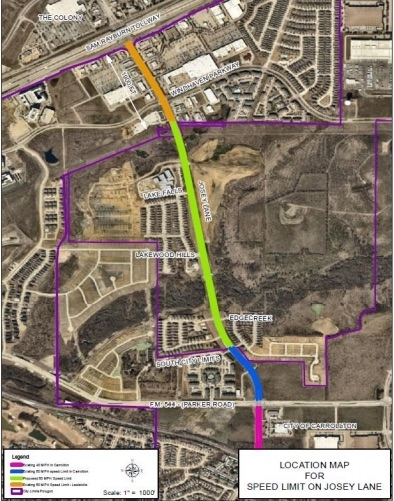 This map shows the area along Josey Lane that will be 50 mph. (Courtesy city of Lewisville)