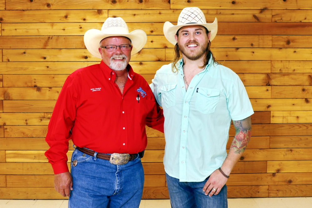 Fort Bend County Fair President Brian Graeber (left) is pictured with performer Jon Stork, who is scheduled to play at the fair on Sept. 25. (Courtesy Fort Bend County Fair & Rodeo)