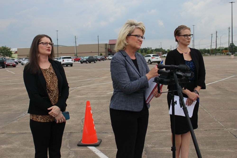Special education advocate Karen Cunningham (middle) along with Kelly Rhame (left) and Heidi Simpson spoke during a news conference on Aug. 4 about their concern regarding Pearland ISD's support for special education students. (Andy Yanez/Community Impact Newspaper)