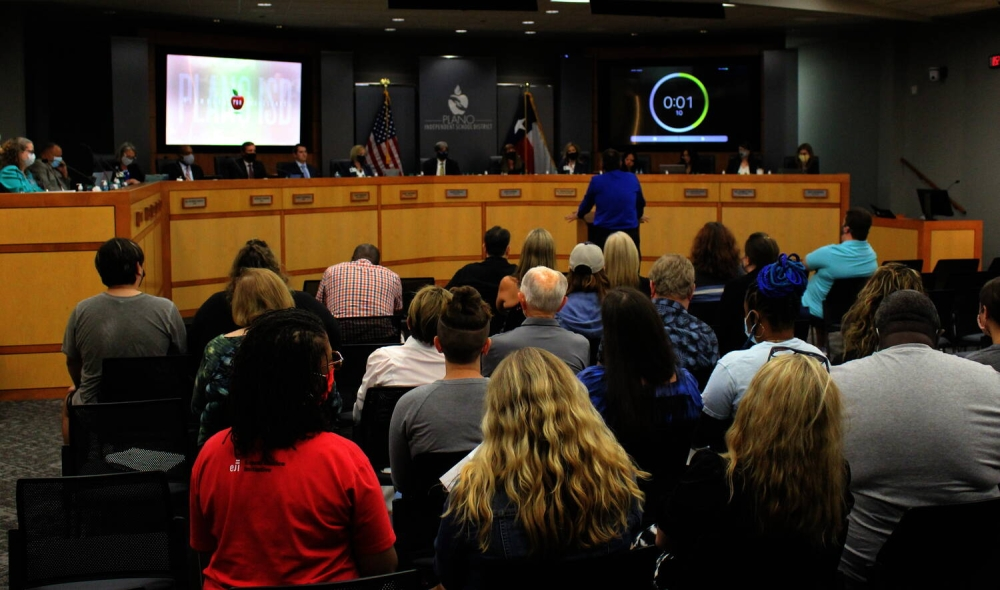 The Plano ISD board of trustees heard from 13 speakers during public comment Aug. 3 before voting on the revised health and safety protocols for the new school year. (William C. Wadsack/Community Impact Newspaper)