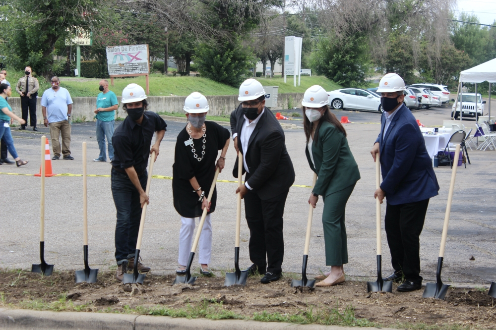 From left: District 4 Council Member Greg Casar; Caritas of Austin President and CEO Jo Kathryn Quinn; Donnell McGhee, Vecino Group senior development manager; Rosie Truelove, Austin Housing Finance Corp. housing and planning director; and Mayor Steve Adler marked the groundbreaking of the Espero Rutland project Aug. 9. (Ben Thompson/Community Impact Newspaper)