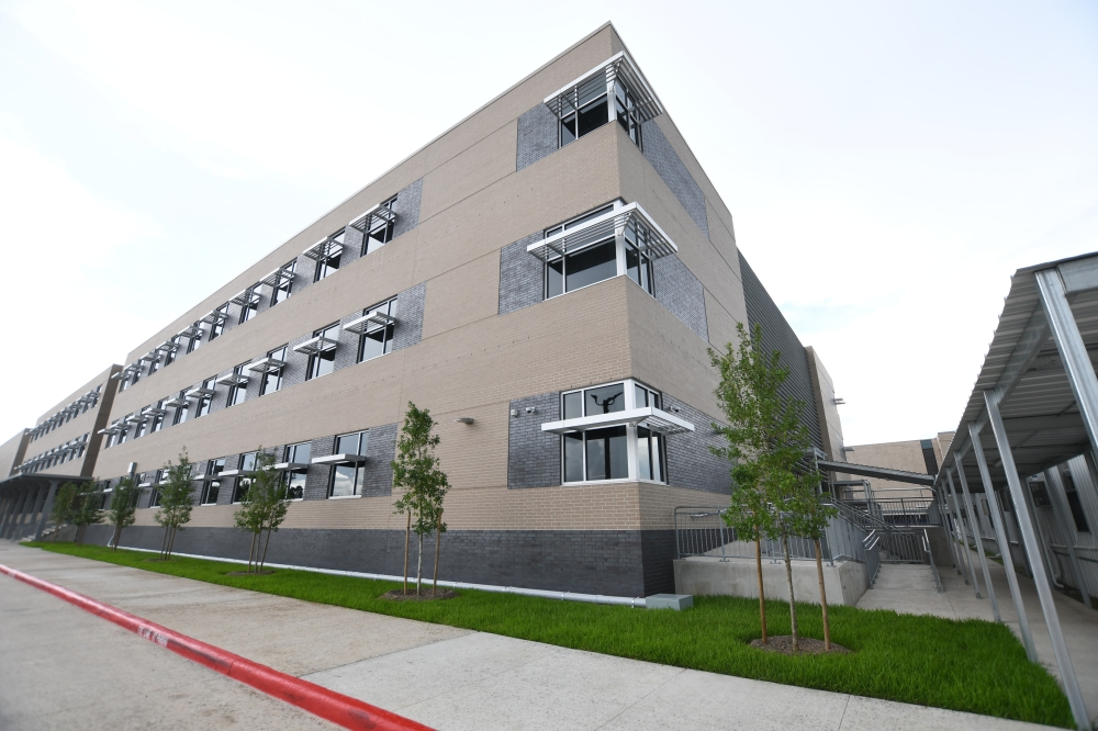 Bellaire High School will still need a front entrance by the time classes start Aug. 23; by August 2022, this entrance and other features will be completed. (Hunter Marrow/Community Impact Newspaper)