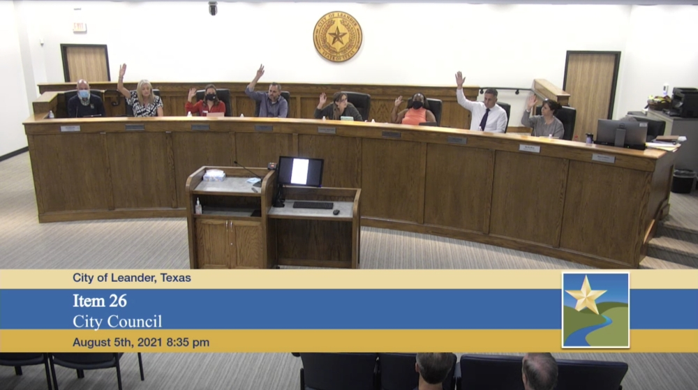 The city council voted unanimously for the first zoning reading of the property the rezoning unanimously. (Screenshot courtesy city of Leander)