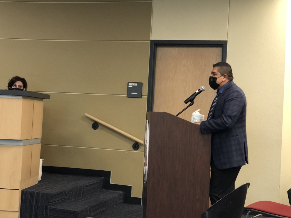 PfISD Chief Operations Officer Ed Ramos spoke to the board about the 2021-22 budget proposal during an Aug. 12 school board meeting. (Benton Graham/Community Impact Newspaper)