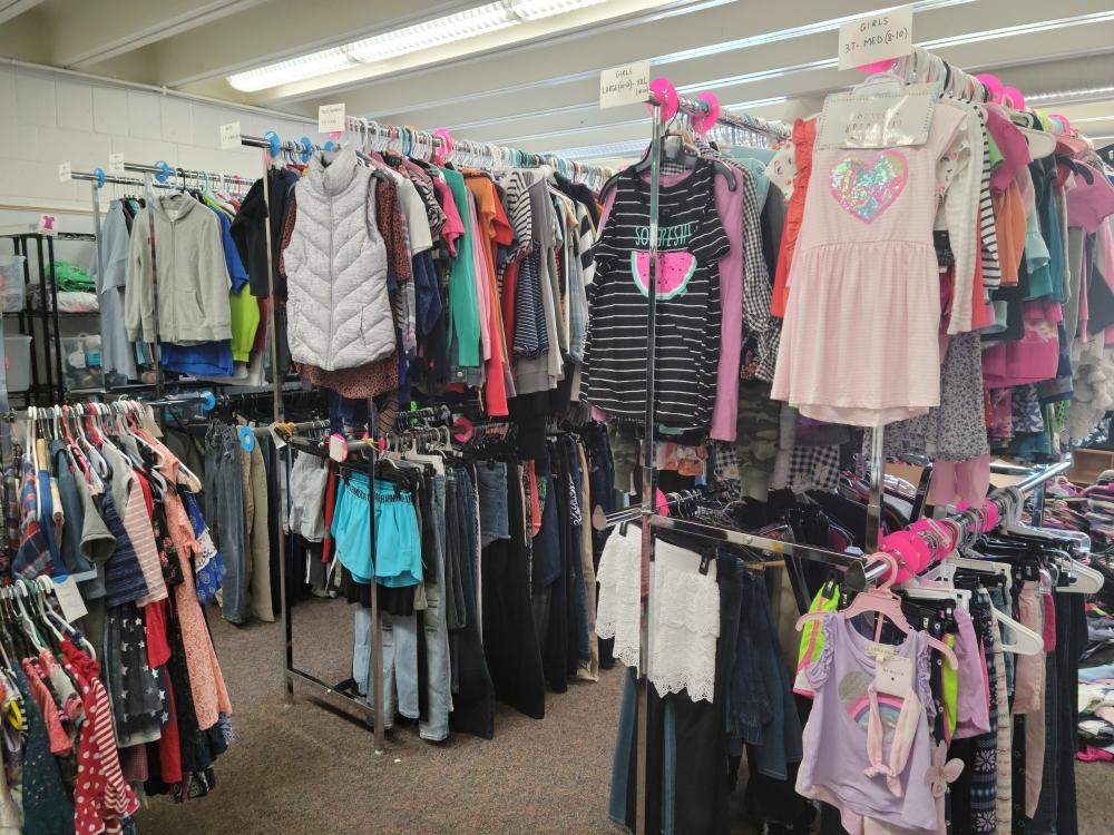 clothes on racks