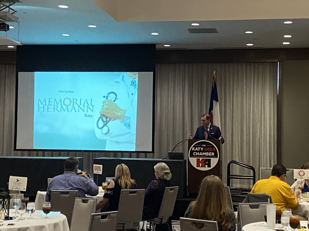 Former state Rep. Dr. John Zerwas, R-Richmond, gives the keynote presentation during the Katy Area Chamber's State of Healthcare event Aug. 12. (Claire Shoop/Community Impact Newspaper)