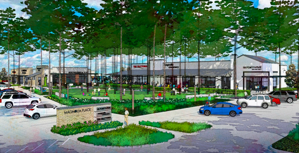 Magnolia Place is a mixed-use project in Magnolia developed by Stratus Properties Inc. which will feature a 95,000-square-foot H-E-B grocery story. (Rendering courtesy Stratus Properties Inc.)
