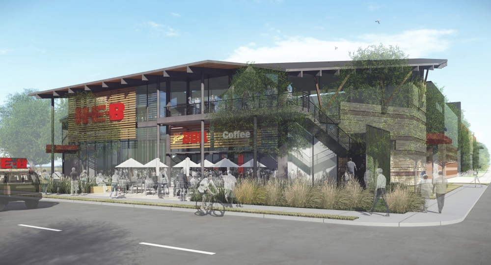 The development of the multistory building also includes underground parking and street improvements. (Courtesy H-E-B)