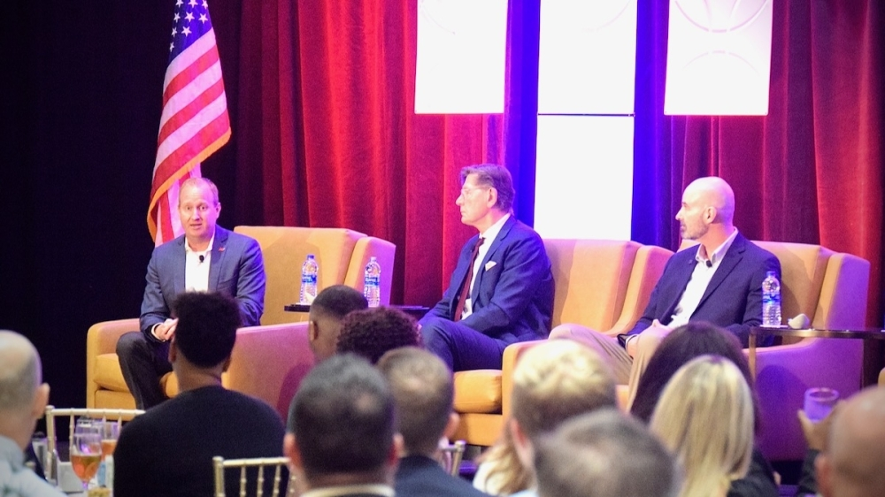 From left: Frisco Mayor Jeff Cheney, Hall Group President Don Braun and Frisco ISD Superintendent Mike Waldrip participate in a Q&A panel on Aug. 24 detailing how the public-private partnership for a performing arts center came to fruition. (Matt Payne/Community Impact Newspaper)