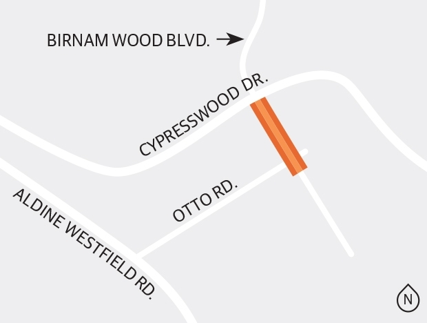 Harris County is studying a project to improve Birnam Wood Boulevard Segment 2, from Cypresswood Drive to south of Otto Road in Spring.  (Ronald Winters/Community Impact Newspaper)