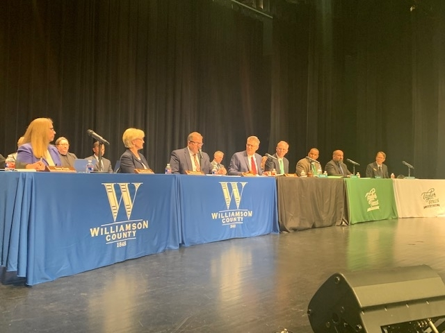 Williamson County Commissioner Court members joined Taylor City Council members for a joint meeting to pass economic development agreements. (Joe Warner/Community Impact Newspaper)