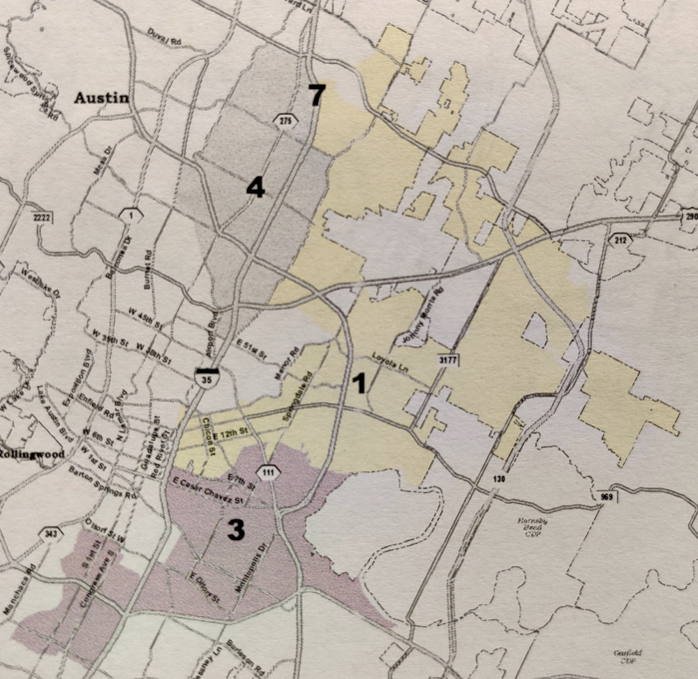 The NAACP-Hispanic Coalition redistricting proposal focuses only on council districts 1 through 4, and features no change to the existing District 2. (Courtesy NAACP-Hispanic Coalition)