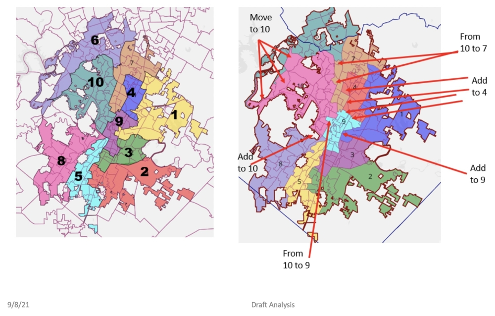 Mapping Specialist George Korbel's proposed revision of City Council district boundaries includes several notable changes, mainly stemming from adjustments in Northeast Austin. (Courtesy city of Austin)