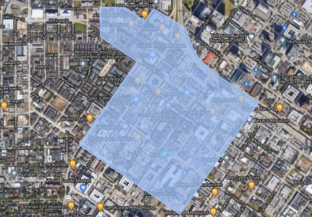 The city of Houston has been studying parking demand and pricing in a part of Midtown, depicted in this map, since January. (Courtesy Google Maps)