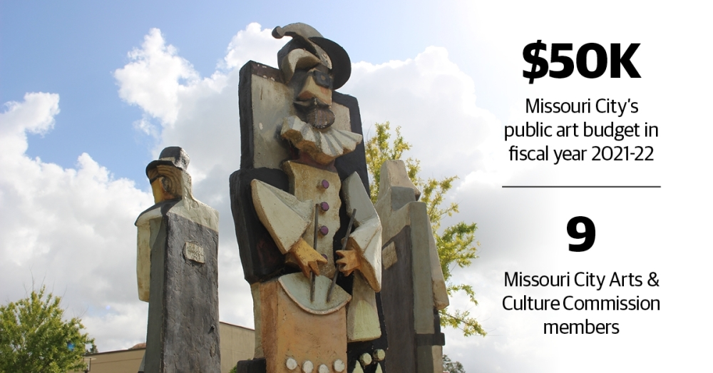"""Located outside the Missouri City Community Center, """"3 Musicians"""" is a sculpture by David Adickes, whose work includes the Sam Houston statue on I-45 near Huntsville. (Claire Shoop/Community Impact Newspaper)"""