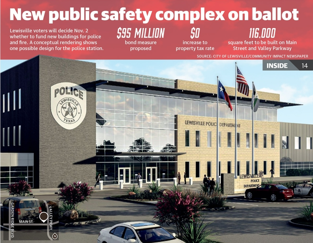 This conceptual rendering shows one possible design for the new Lewisville Police Department being proposed as part of the new public safety complex on Main Street. (Rendering courtesy city of Lewisville)