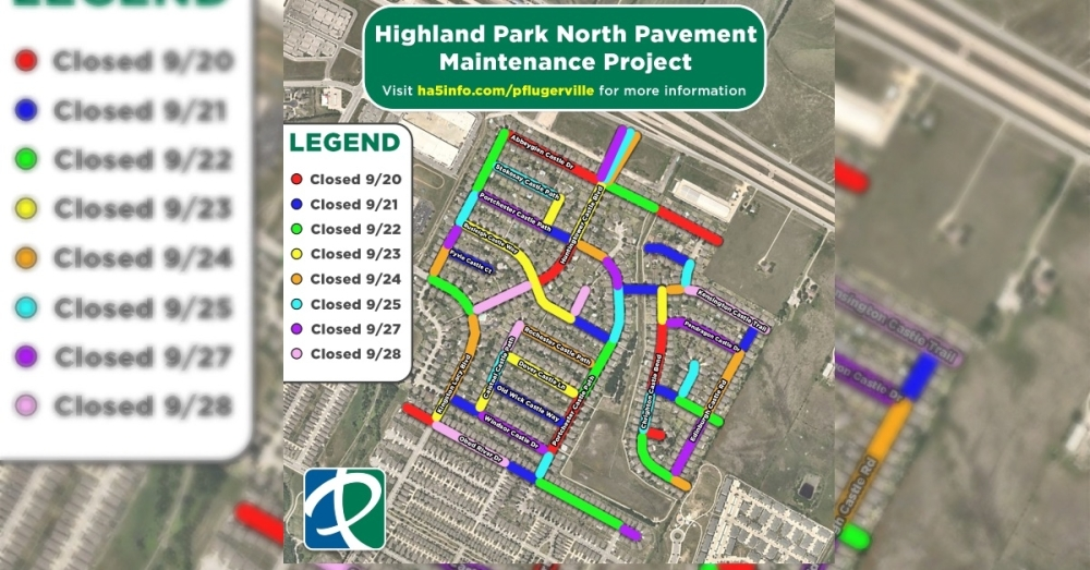 Called the Highland Park North Pavement Maintenance Project, the work will take place Sept. 20-28. (Courtesy city of Pflugerville)