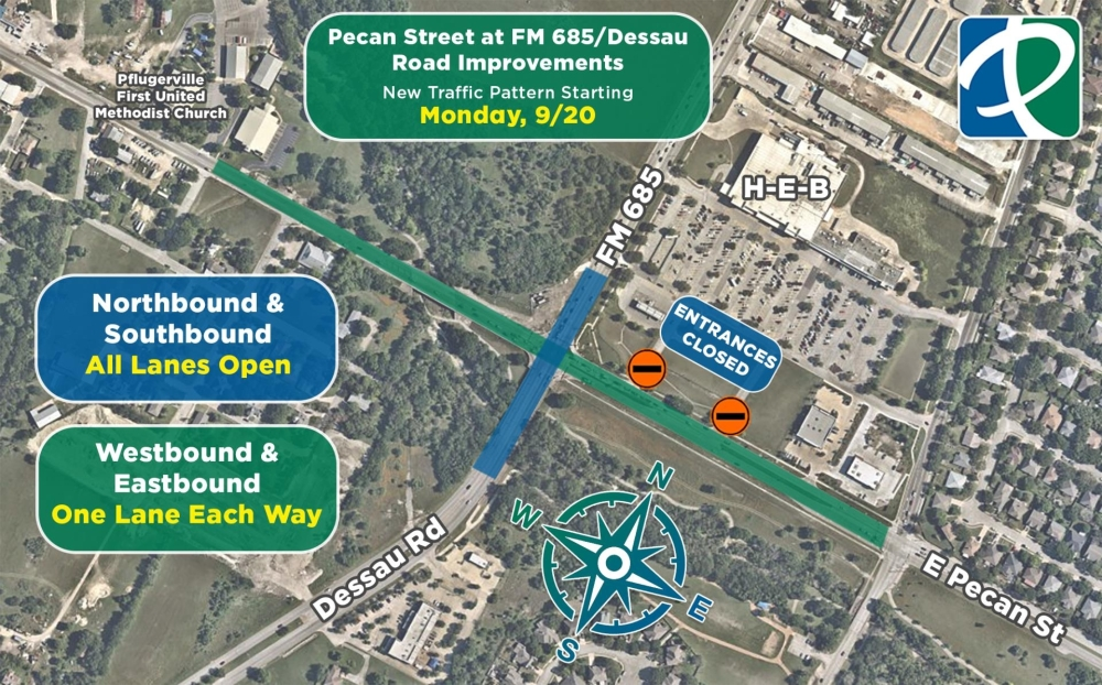 Traffic patterns at the FM 686/Pecan Street intersection will shift starting Sept. 20. (Courtesy city of Pflugerville)