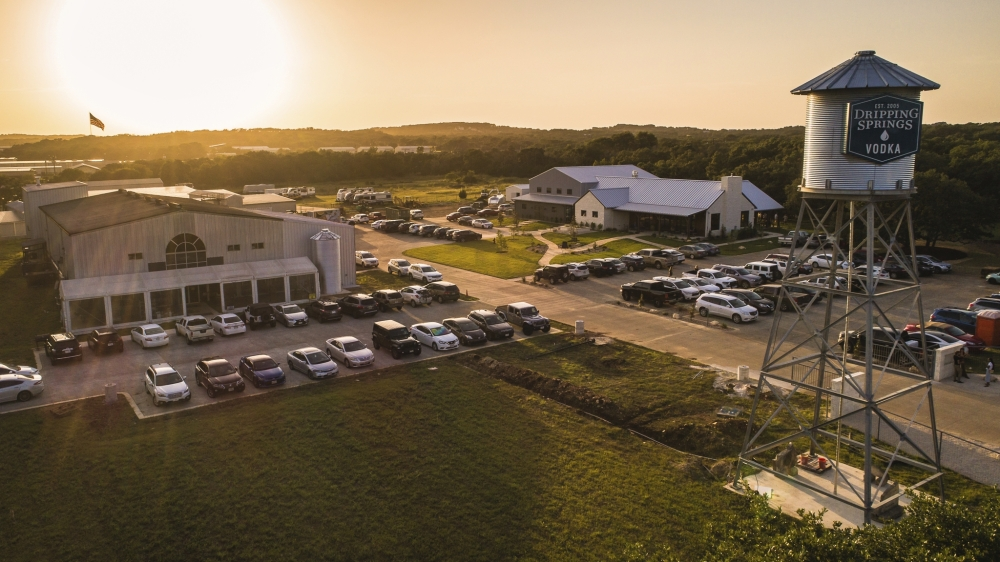 A drone image shows the Dripping Springs Distilling property where a new event hall opened in August. (Courtesy HLK Fotos)