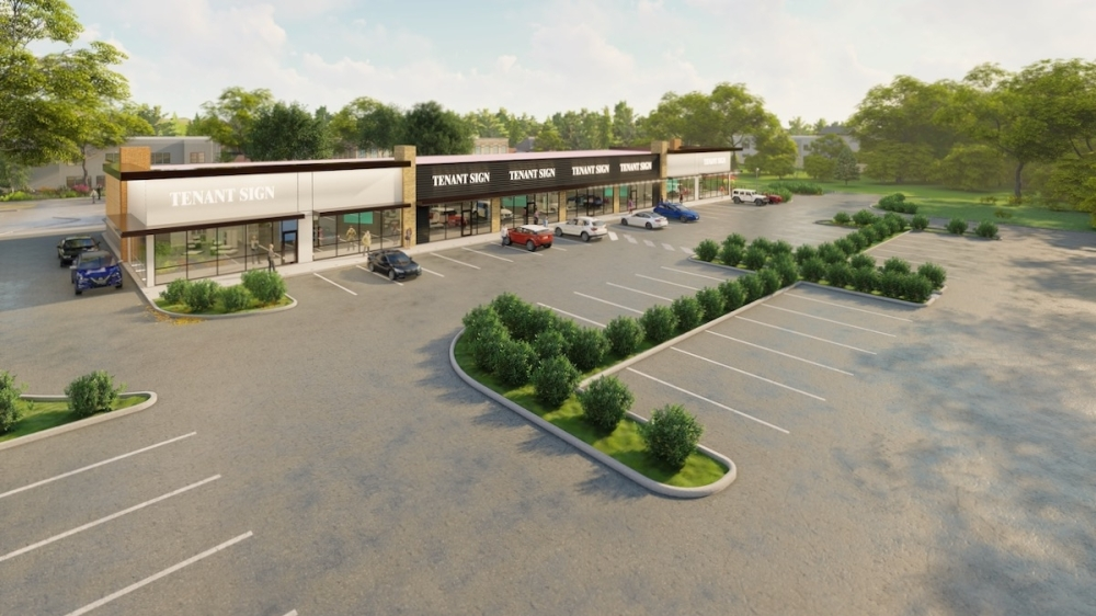 A retail center with space for about six to eight tenants will break ground in January northwest of FM 1097 and Kennedy Street in Willis. (Rendering courtesy Black Flag Properties)