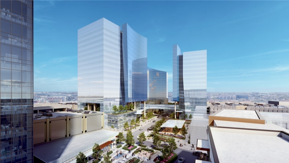 The buildings, called Five Cityline, Six Cityline and Seven Cityline, will include 18, 13 and 15 stories, respectively. (Rendering courtesy Corgan and Associates)