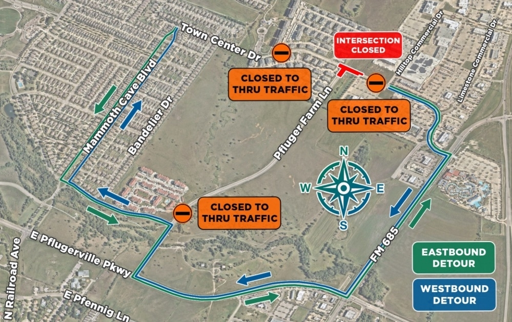 Information from the city of Pflugerville states the closure is due to Phase 1 of a transportation project intended to complete an extension of Plfuger Farm Lane. (Courtesy city of Pflugerville)
