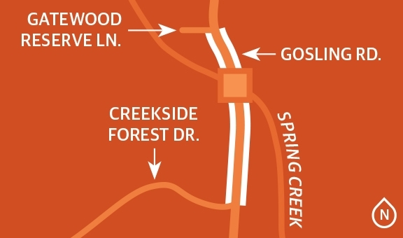 Gosling Road will be expanded to four lanes between Creekside Forest Drive and Gatewood Reserve Lane, including the Spring Creek bridge. (Ronald Winters/Community Impact Newspaper)