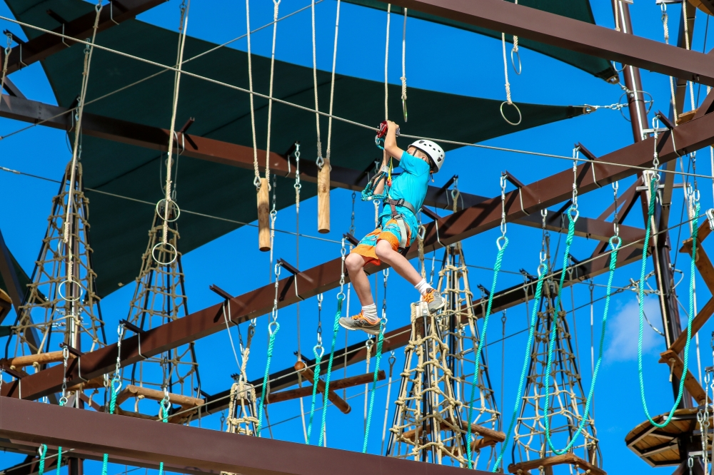 Zip lining and obstacle courses are among the activities available to visitors at Big Rivers Waterpark and Adventures in New Caney. (Courtesy of Big Rivers Waterpark and Adventures)