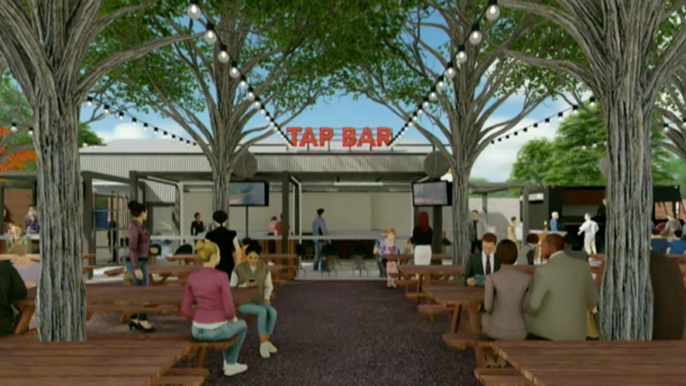 The proposed outdoor Biergarten would include a bar, picnic tables, a game court, space for live entertainment and more. (Rendering courtesy Hermansen Land Development)