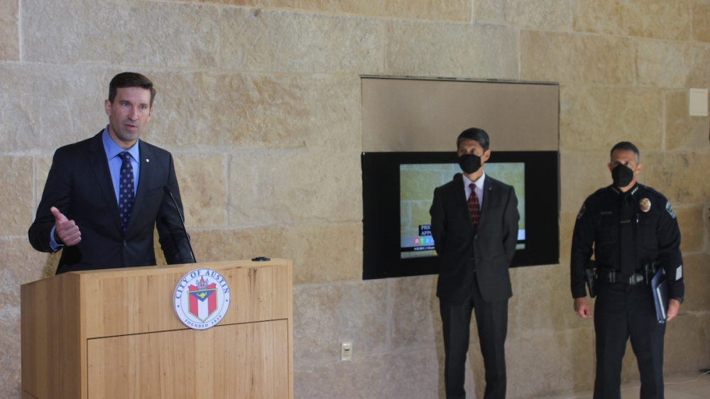 City Manager Spencer Cronk, left, led the months-long search and hiring process for Austin's next police chief. (Ben Thompson/Community Impact Newspaper)