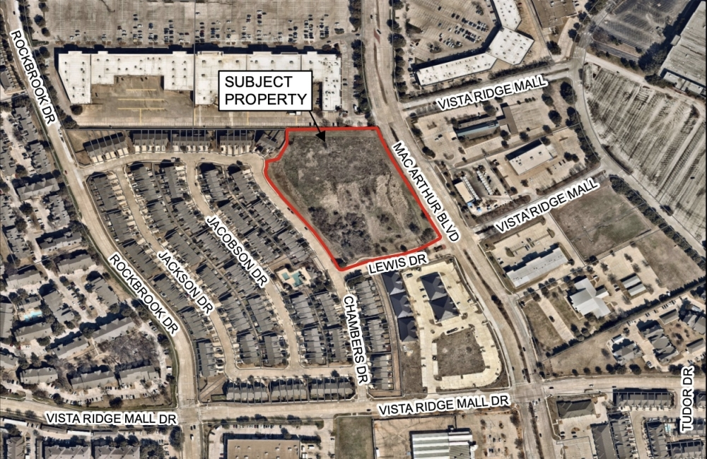 This map shows the location of the 121 MacArthur project. (Courtesy city of Lewisville)
