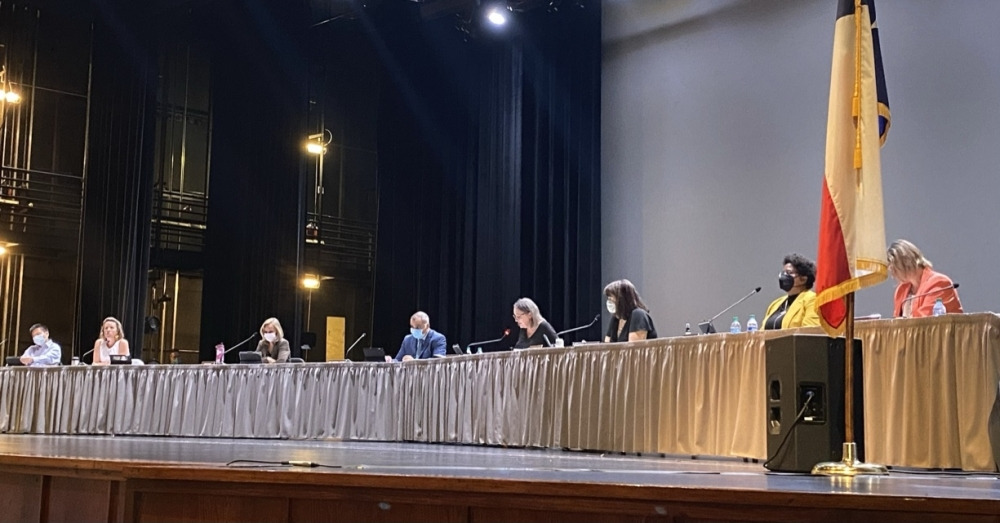 The Sept. 22 meeting of the RRISD Board of Trustees was moved to the Raymond E. Hartfield Performing Arts Center to accommodate a larger audience. (Brooke Sjoberg/Community Impact Newspaper)