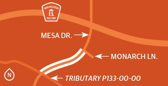 Harris County officials are studying a project to add two travel lanes to Mesa Drive from Tributary P133-00-00 to Monarch Lane with improved drainage. (Ronald Winters/Community Impact Newspaper)