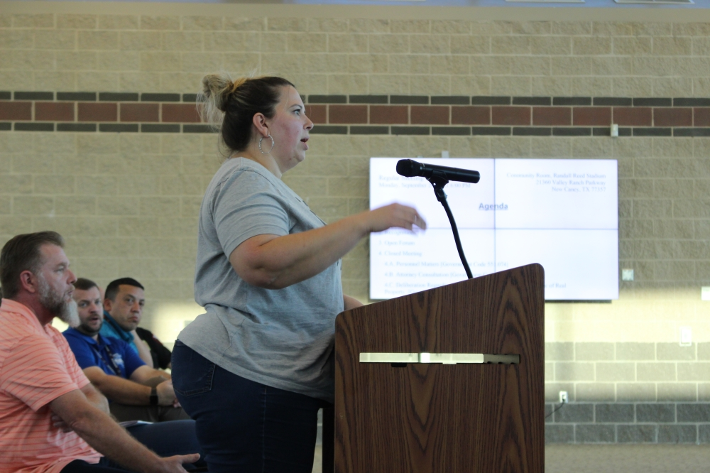 Several parents of New Caney ISD students spoke at the district's Sept. 20 board meetings about recent allegations that a student brought a firearm to Porter High School's Sept. 18 homecoming dance. NCISD Superintendent Matt Calvert stressed that no gunshots were fired at the event, and that the district is investigating the allegations. (Wesley Gardner/Community Impact Newspaper)